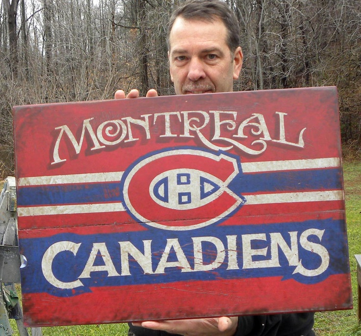 hand painted faux-retro  #  Montreal Canadiens hockey sign by ZekesAntiqueSigns