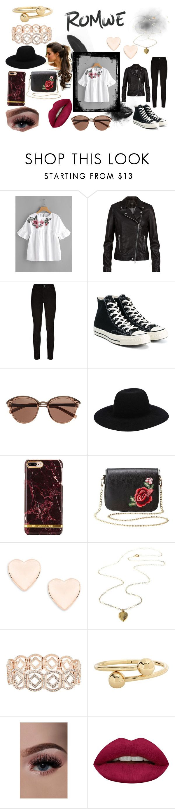 """""""Romwe Date Night"""" by fluttercord on Polyvore featuring SET, Paige Denim, Converse, Witchery, Off-White, Charlotte Russe, Ted Baker, Accessorize, J.W. Anderson and Huda Beauty"""