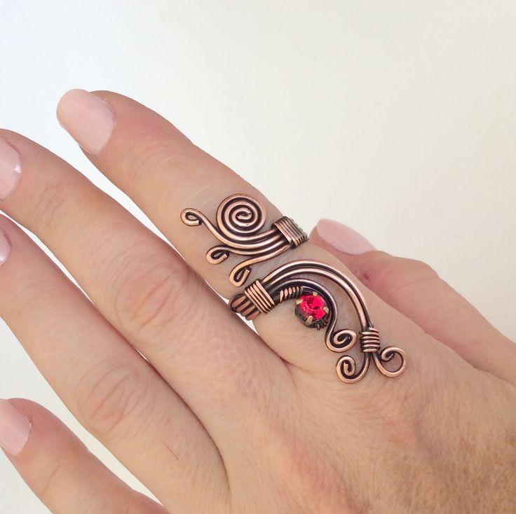 fio de cobre anel arame enrolado com cristal vermelho por BeyhanAkman