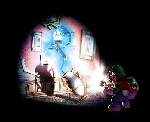 Luigi stuns a hider as it emerges from its jar from the official artwork set for #LuigisMansion 2 Dark Moon on Nintendo #3DS. #Luigi http://www.superluigibros.com/luigis-mansion-2