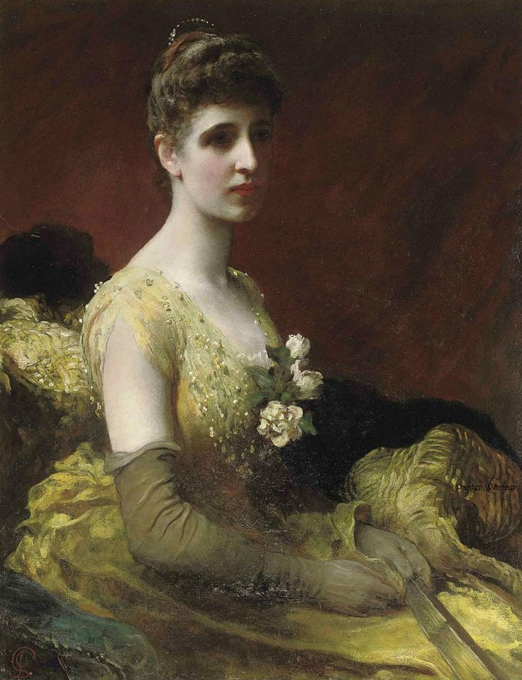 James Sant (1820–1916) —  Portrait of Mrs Dixon of Rheda  in a Yellow Dress, 1889  (840×1095)