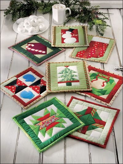 Holiday Fun e-pattern Fun to Quilt Potholders Joyful icons of the Christmas season -- including a dancing snowman, candy cane, tree, wreath, brightly wrapped presents, stocking and mittens -- are arrayed in this cheerful assortment of eight pieced and appliqued pot holders.