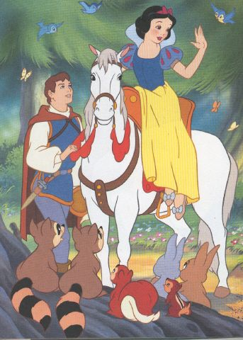 *look how all the precious lil nanimals love her-because they know she has a kind heart*  After Snow White awakens and rides off with her Prince <3