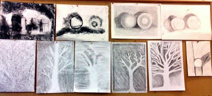 Charcoal drawings, waldorf 6th grade