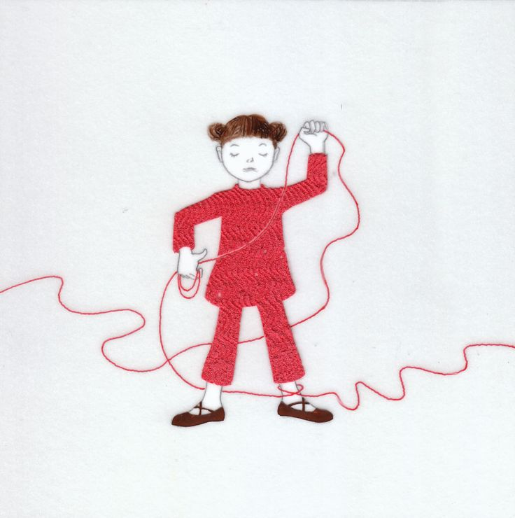 『誰かにつながる赤い糸 11』(シリーズ作品) アクリル絵具・トレーシングペーパー 15cm×15cm