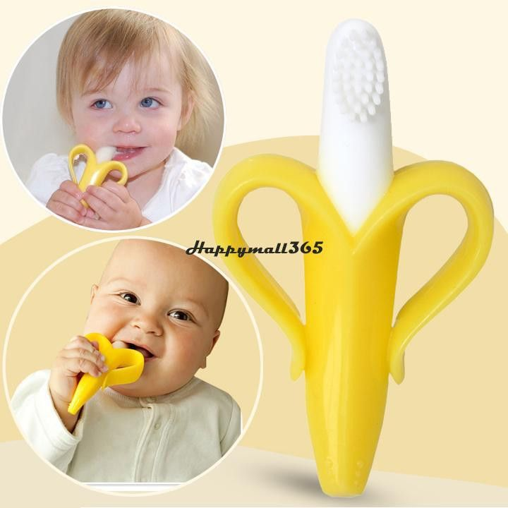 Cheapest High Quality And Environmentally Safe Baby Teether Teething Ring Banana Silicone Toothbrush Free Shipping 50