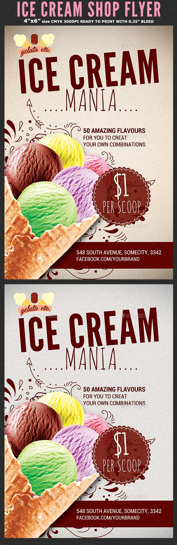 Ice Cream Shop Promotion Flyer Template - Flyers Print Template PSD. Download here: http://graphicriver.net/item/ice-cream-shop-promotion-flyer-template/16711633?s_rank=68&ref=yinkira