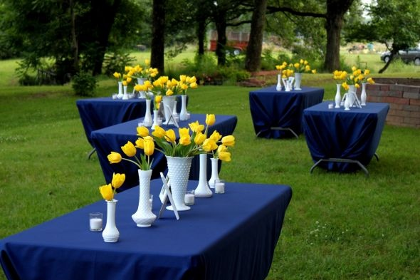 I.C. Spartan graduation decor?  Change to green table clothes and it would be John Deere!