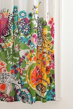 hand painted curtains.  LOVE this idea.  use white sheets of high Qaulity cotton and fabric paints.