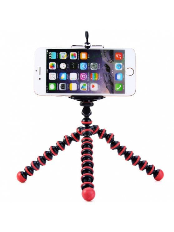 Flexible Mini Octopus Style Tripod Stand Holder for Mobile Phones - RED WITH BLACK