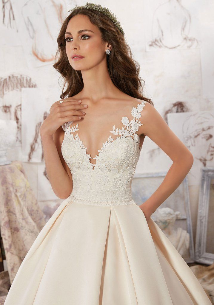Blu by Mori Lee Marina 5501 Illusion Neckline Satin Ball Gown Wedding Dress