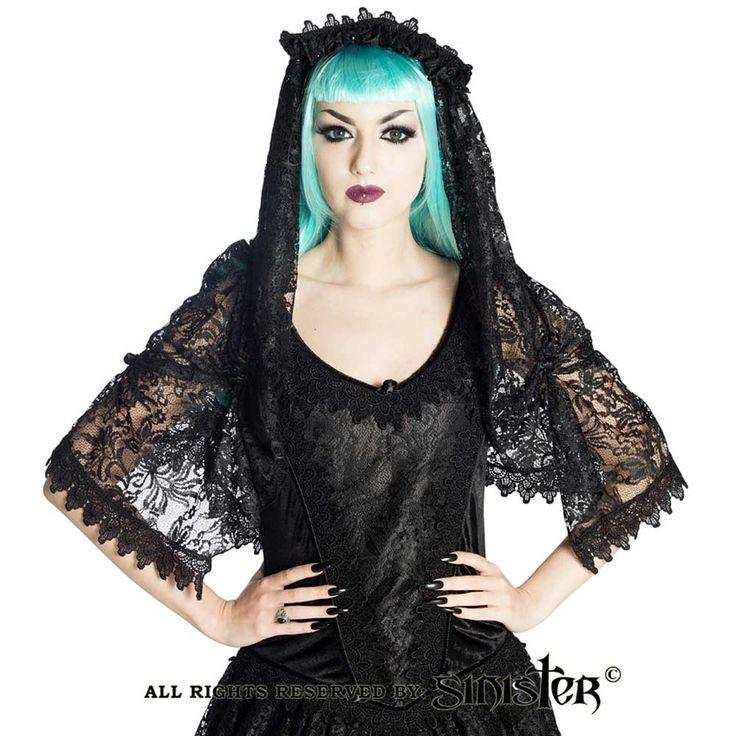 Sinister Alisha kanten sluier met hoofd accessoire en rozen zwart - Vi