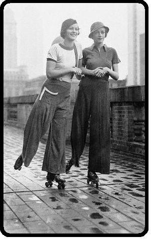 Ladies rollerskating in pants (1920s)