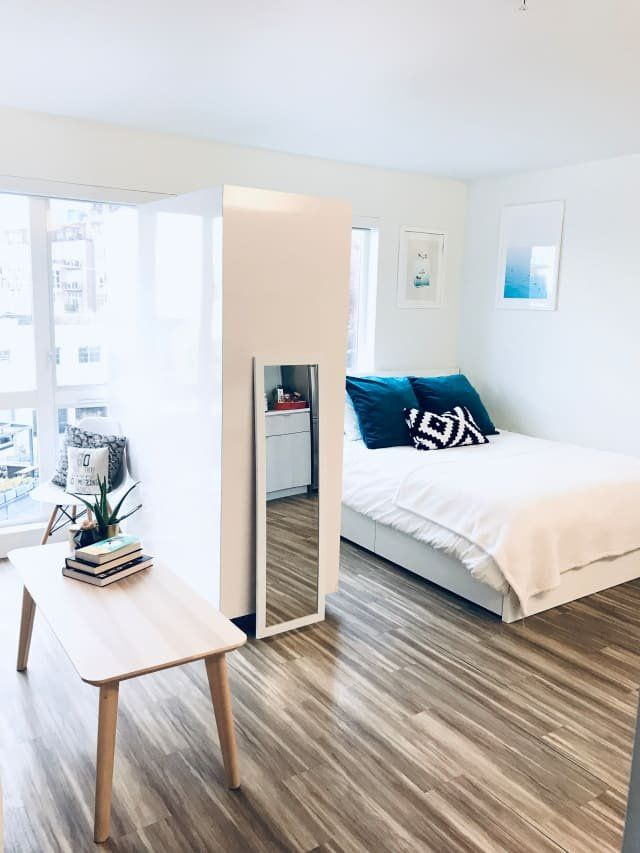 A Simple Chic Seattle Studio Under 500 Square Feet Minimalist Living Room Small Apartment Design Studio Apartment Furniture