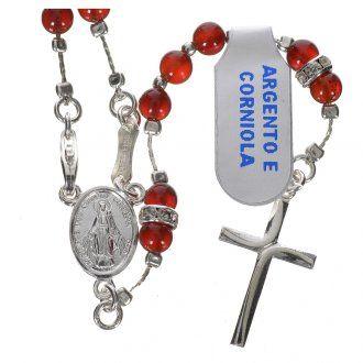 Rosario argento 800 e corniola | vendita online su HOLYART