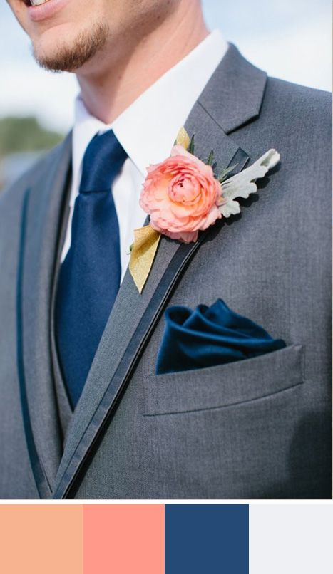 Groom style in navy and peach. Source: wedding chicks #grookattire #navy #peach #colorpalette