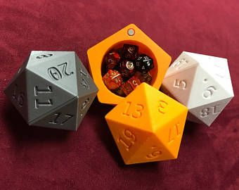 D20 Dice Case - Magnetized - Storage Container - Large Fits 13 D6 - DnD Dice Box - Giant D20 Die of Holding - Use it as a gift box