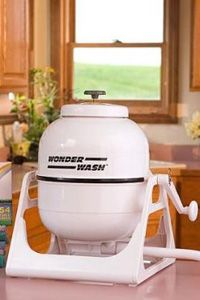 Wonderwash SpinDryer. If you're too lazy to go to the cleaners and you want to save the cost for washing clothes. Wonderwash SpinDryer is suitable for you, this is a mini washing machine with no electricity and easy to use for washing small loads.