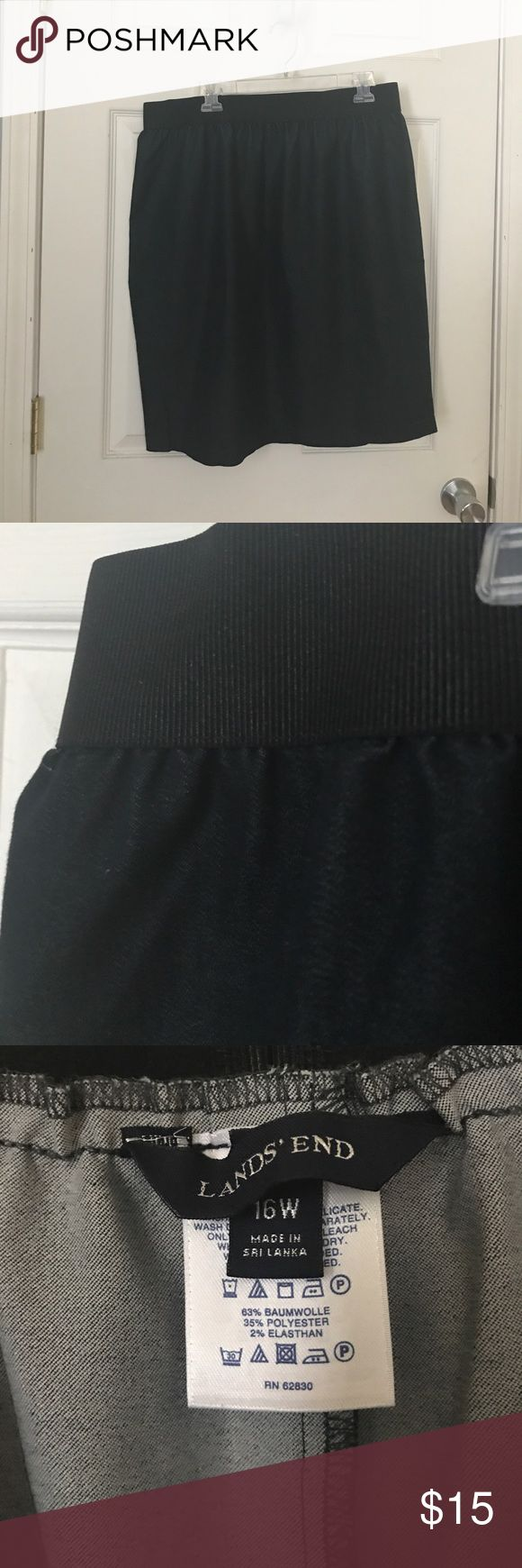 Lands End High-Waist Pencil Skirt Comfy and cute denim pencil skirt from Lands End. Bought it to wear for business professional, and don't need it now. Only worn once. In great condition. Lands' End Skirts Pencil