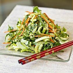 Crisp Baby Bok Choy Greens in Tangy-Sweet, Sesame-Soy Vinaigrette