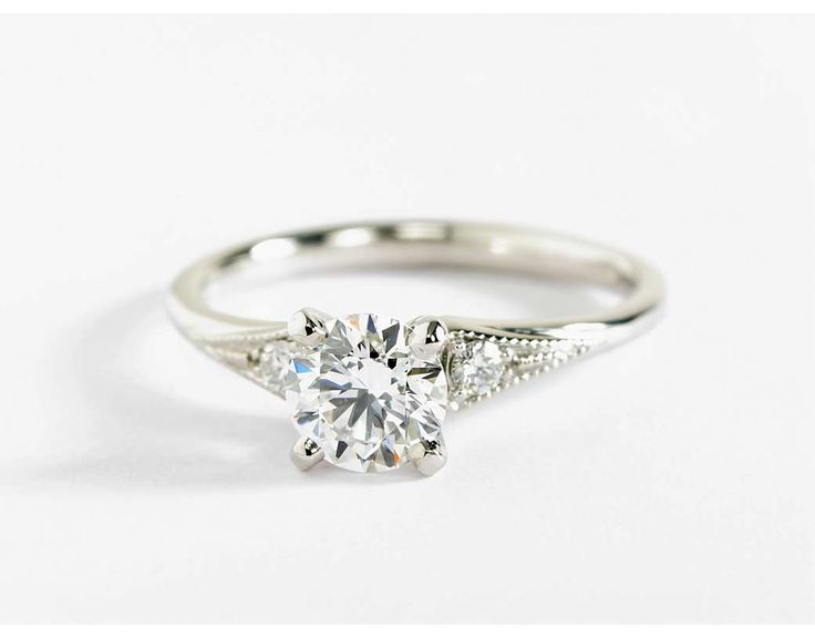 Heirloom Petite Milgrain Engagement Ring in 14k White Gold  $420 setting