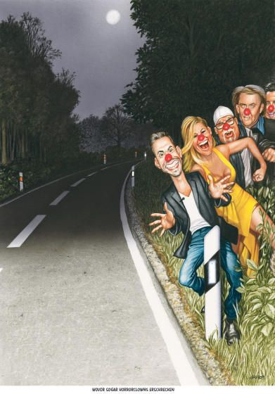 """Haderer-Karikatur vom 5. November 2016: """"Wovor sogar Horrorclowns erschrecken"""" Mehr Karikaturen auf: http://www.nachrichten.at/nachrichten/fotogalerien/cme14862,1600021 (Bild: Haderer)"""