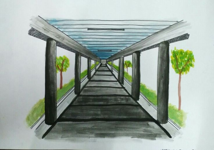 [Perspective Drawing] Corridor to Engineering Centre. March 2017