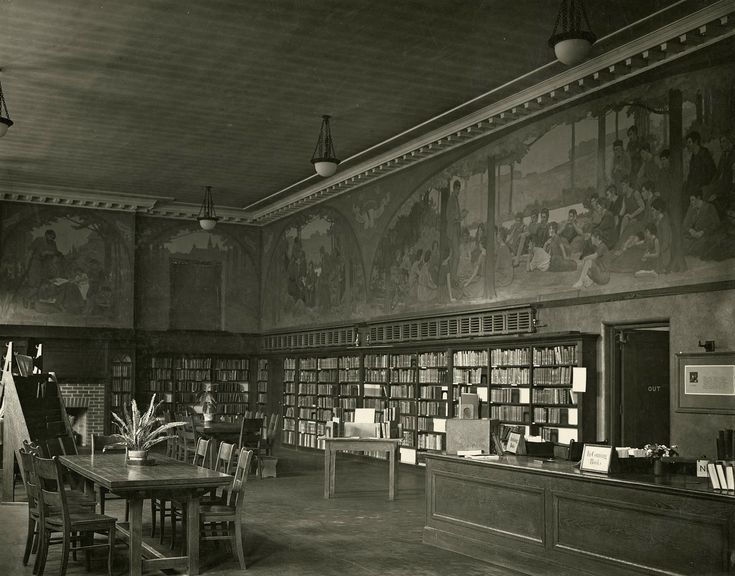 Our Dufferin/St. Clair branch, shortly after it opened its doors in 1921. The original Earlscourt branch opened in 1913, moving to this new location 97 years ago this Saturday. The interior murals were painted by George A. Reid, principal of the Ontario College of Art, and by two of his former students, Lorna Claire and Doris McCarthy. The branch was renovated in 2008, winning the Ontario Library Assoc. building award. Happy birthday to a well-loved library!