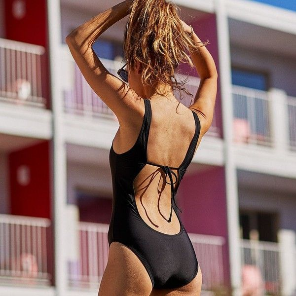 Aerie Scoop One-Piece Swimsuit ($45) ❤ liked on Polyvore featuring swimwear, one-piece swimsuits, black, black one piece bathing suit, aerie swimwear, black swimsuit, aerie swimsuits and 1 piece bathing suits