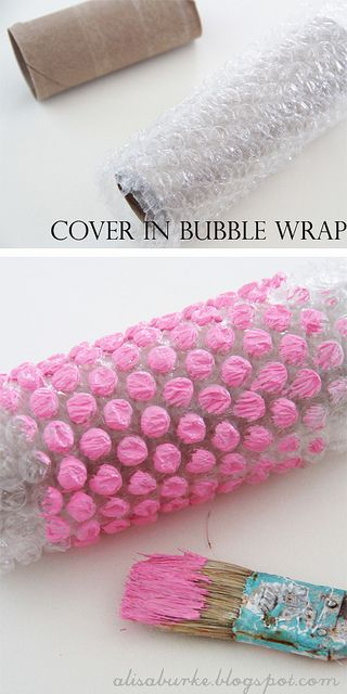 Several cool painting textures made with everyday items: bubble wrap, toilet paper rolls, etc.