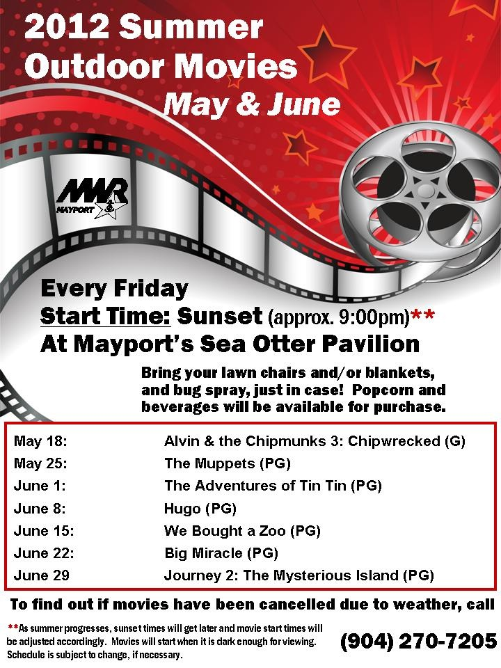 "All summer long, MWR is having outdoor movies on Friday nights at Sea Otter Pavilion! Join us this Friday, May 25, at sunset (appx. 9 pm) for ""The Muppets."" Popcorn and drinks will be available for purchase!"