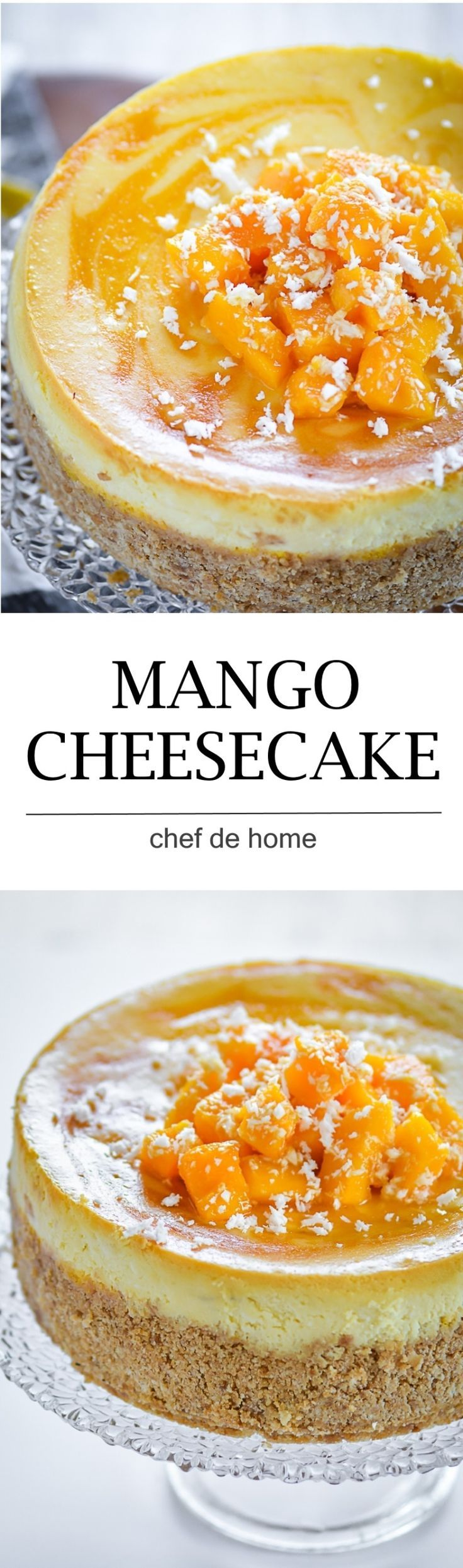 moist and rich easy mango cheesecake with fresh mangoes and sour cream and baking technique to bake extra lite cake | http://chefdehome.com