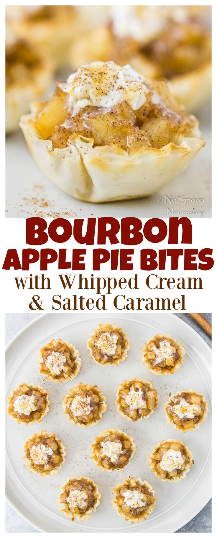 Bourbon Apple Pie Bites with Whipped Cream & Salted Caramel Easy ...