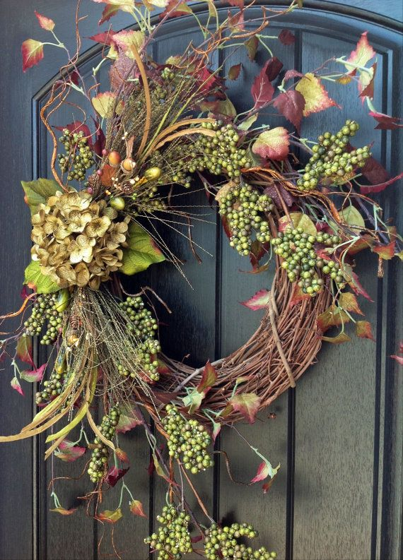 Fall Wreath-Autumn Wreath Berry-Twig-Holiday Wreath- Grapevine Door Decor-Fall Decor