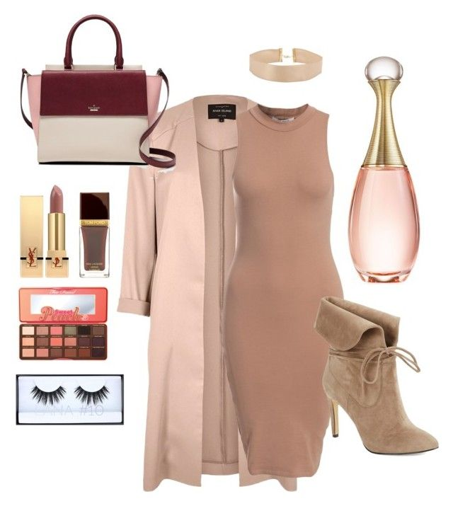 """Untitled #10"" by ladyshouq ❤ liked on Polyvore featuring River Island, NLY Trend, 424 Fifth, Kate Spade, Yves Saint Laurent, Too Faced Cosmetics, Christian Dior and Huda Beauty"