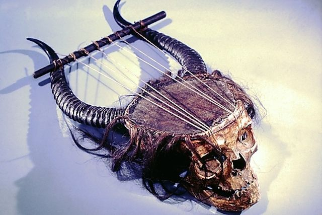 Lyre Date: 19th century Medium: human skull, antelope horn, skin, gut, hair Dimensions: L. 36.5 cm.; W. 14 cm.; D. 13 cm. Classification: Chordophone-Lyre-plucked Credit Line: The Crosby Brown Collection of Musical Instruments, 1889 Accession Number: 89.4.1268
