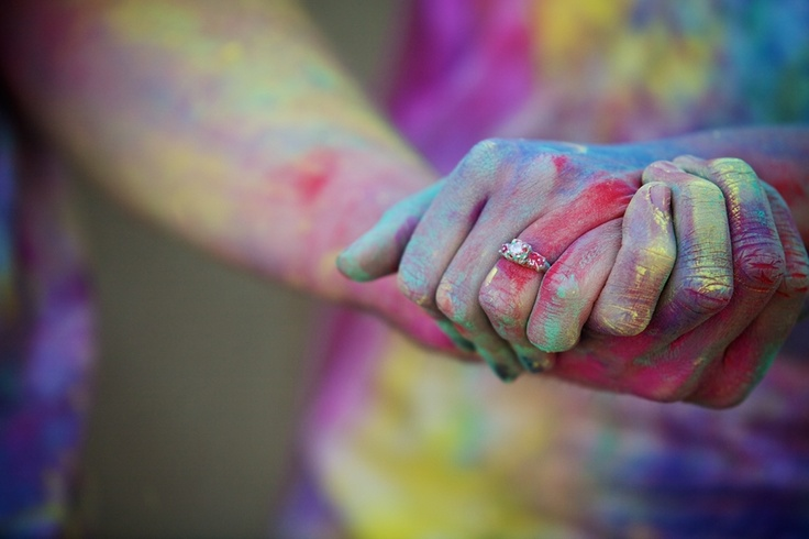 The Frosted Petticoat: Love & (paint) War  engagement session with Holi powder