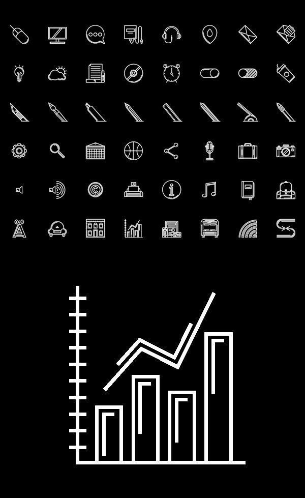 Free Line Icon Set AI and EPS (48 Icons)