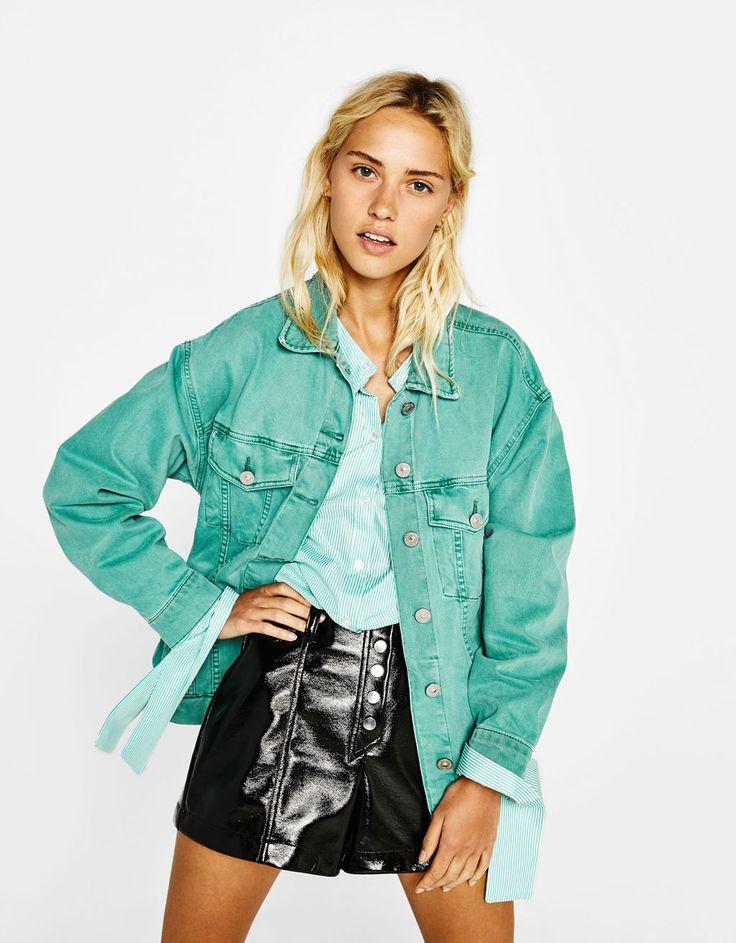 Oversized denim jacket - Jackets - Bershka United Kingdom