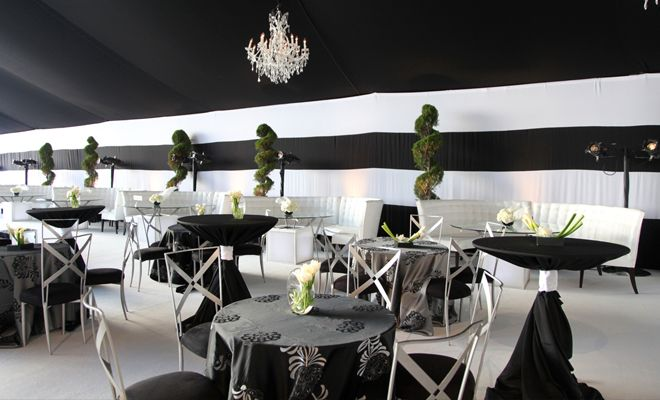Alternating Black Chic Floral Table Linen.  Black, White and Silver Reception Décor.  Linen Rentals | Table Linens, Runners & Chair Covers for Rent | BBJ