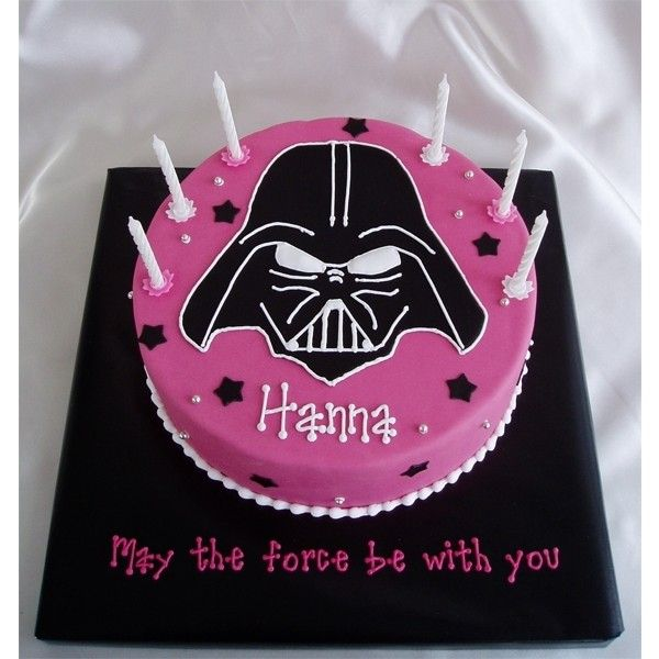 Pink star wars By cakehelp ❤ liked on Polyvore featuring cakes