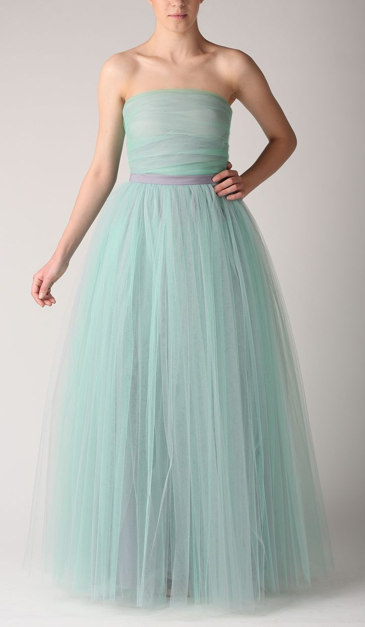 Zestaw spódnica tiulowa maxi i gorset. Kolor szaro-miętowy Fanfaronada, mint and grey tulle skirt and top - ideal for a bridesmaid wedding dress!