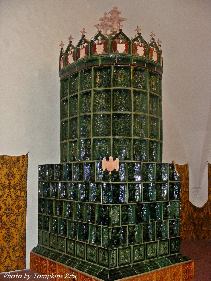 One of the reconstructed tiled fire burning stoves, Royal Palace