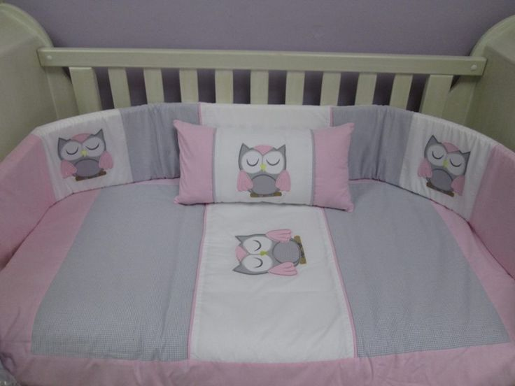 Owl quilt set: Beautifully embroided cot set handmade from the best cottons. Set includes: cot bumper, quilt, mini scatter and fitted sheet (made to fit mattress 1.3m X 66cm). www.facebook.com/borderboutique.co.za