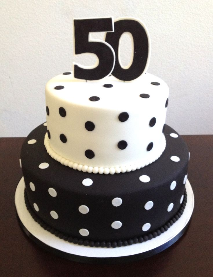 Black And White Polka Dot 50th Birthday Cake Custom