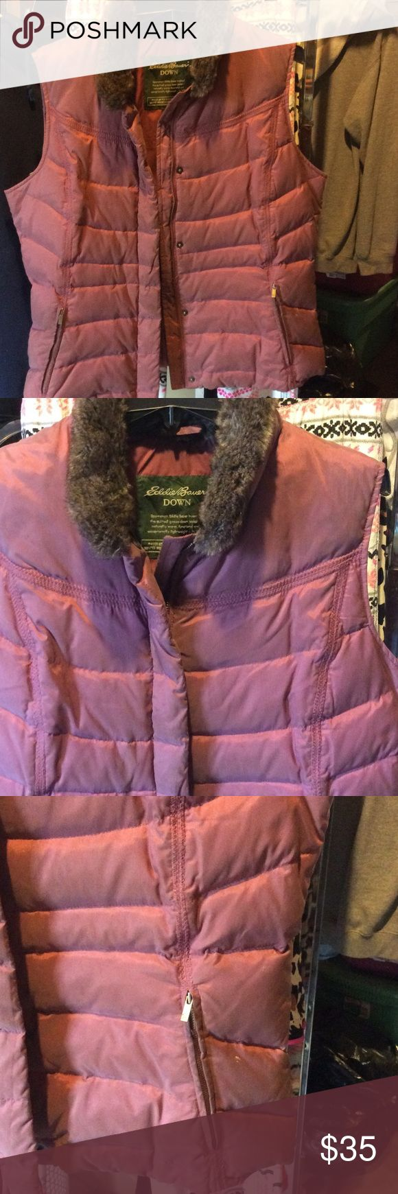 SALE -Eddie Bauer down ski vest Cranberry/wine like color quilted goose-down with zipper and button down front zipper pockets sets right below waistline. Love this vest definitely keeps you warm , worn a lot but no rips or tears , color faded from wear, well made will need to be dry cleaned Eddie Bauer Jackets & Coats Vests
