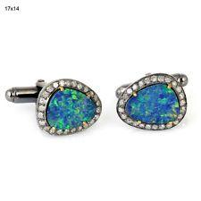 18kt Gold 5.60ct Opal Pave Diamond Designer Cuff Link .925 Sterling Silver