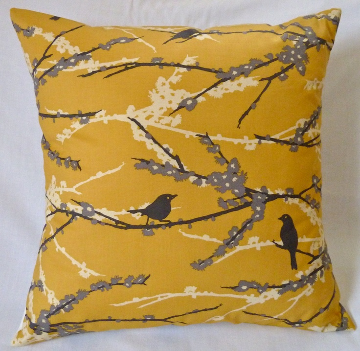 Yellow Bird Throw Pillows : Beautiful Decorative Yellow, Gray, Cream and Black Bird on Branches 18