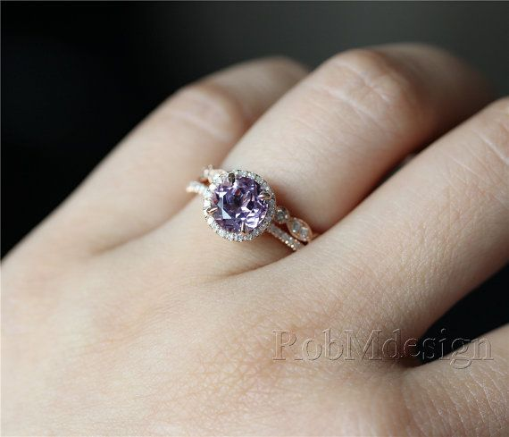 14k rose gold lavender amethyst engagement ring set 7mm for Amethyst diamond wedding ring set