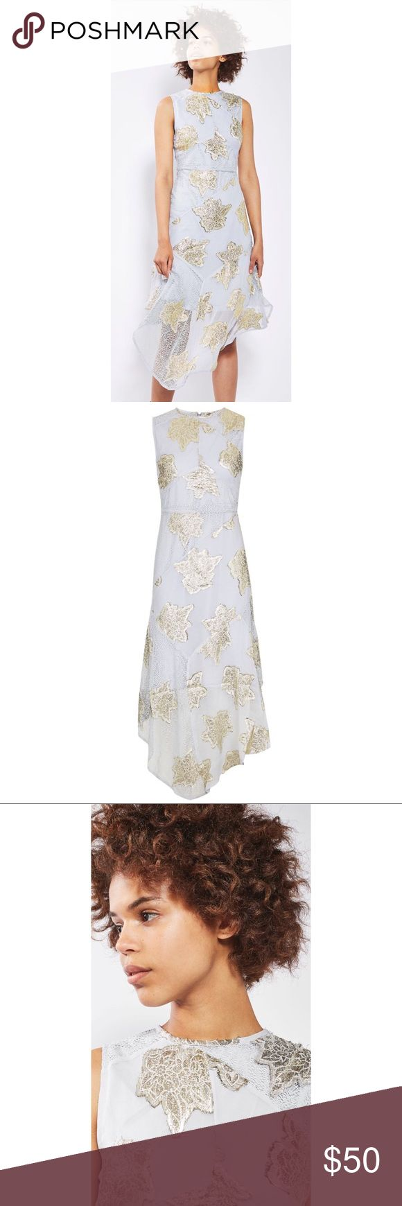 TOPSHOP Lilac Floral Metallic Hanky Hem Lace Dress New With Tags! TOPSHOP Lilac Metallic Tinsel Floral Hanky Hem Lace Midi Dress US Size 6 Make a style statement with our hanky hem line midi dress.  Embellished with striking gold floral details, the uneven hem and fresh white fabric make this thirties inspired dress a chic choice for special occasions this season.  84% Viscose, 16% Metallic fibre.  Machine wash. Colour: LILAC Sold Out In All Stores And Online! Please Review All Photos Prior…